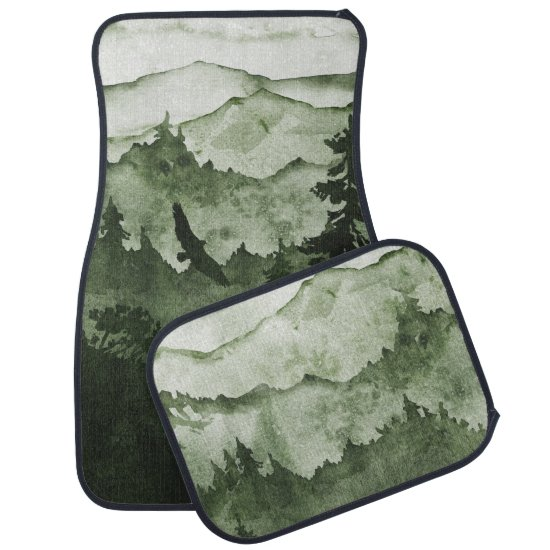 Emerald Green Mountains Mist Eagle Silhouette Car Floor Mat