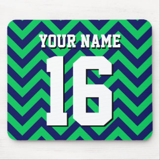 Emerald Green Navy Blue Chevron Sports Jersey Mouse Pad