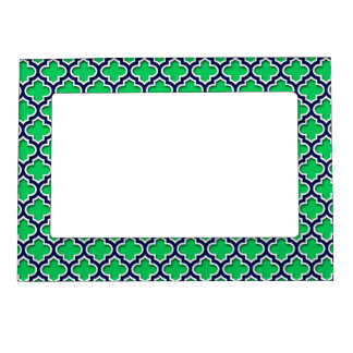 Emerald Green Navy White Moroccan Quatrefoil #5DS Photo Frame Magnets