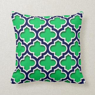 Emerald Green Navy White Moroccan Quatrefoil #5DS Pillows