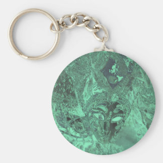 Emerald Green Obscure Mask Abstract Keychain