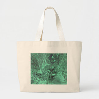 Emerald Green Obscure Mask Abstract Large Tote Bag