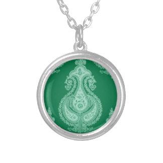Emerald green paisley customizable name round pendant necklace