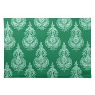 Emerald green paisley customizable cloth placemat