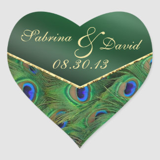 Emerald Green Peacock Envelope Seal Heart Sticker