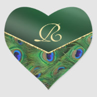 Emerald Green Peacock Monogram Envelope Seal Sticker