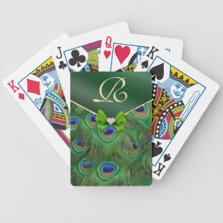 Emerald Green Peacock Monogram Playing Cards Bicycle Playing Cards