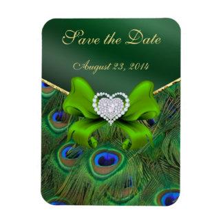 Emerald Green Peacock Save the Date Rectangular Magnet