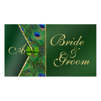 Emerald Green Peacock Wedding Bridal Business Card