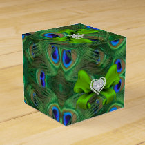 Emerald Green Peacock Wedding Favor Box