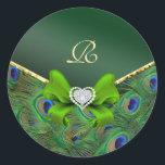 """Emerald Green Peacock Wedding Gift Seal<br><div class=""""desc""""></div>"""