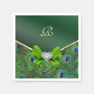 Emerald Green Peacock Wedding Paper Party Napkins