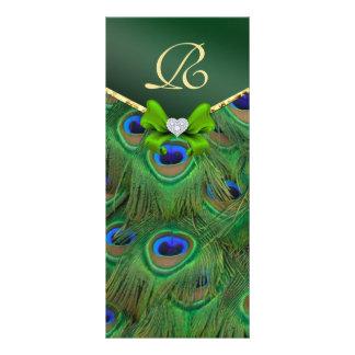 Emerald Green Peacock Wedding Program Rack Card