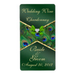 Emerald Green Peacock  Wedding Wine Label Shipping Labels