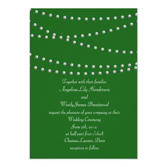 Emerald Green Pearls Wedding Invitation