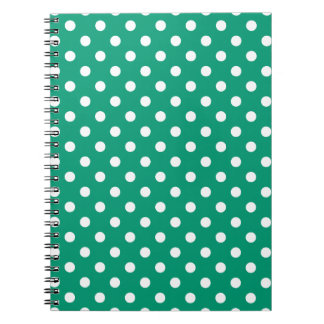 Emerald Green Polka Dot Pattern Notepad Spiral Notebook