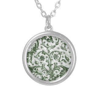 Emerald Green Print Silver Plated Necklace