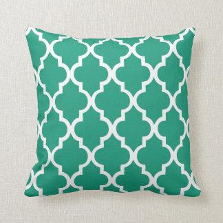 Emerald Green Quatrefoil Pattern Pillow