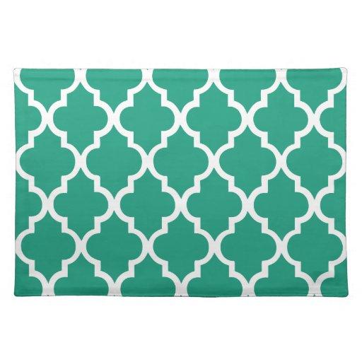 Emerald Green Quatrefoil Tiles Pattern Placemats Zazzle