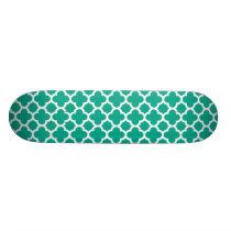 Emerald Green Quatrefoil Trellis Pattern Skateboard Deck