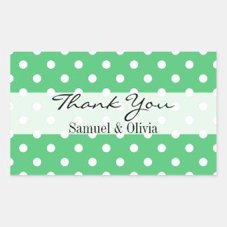 Emerald Green Rectangle Custom Polka Dot Thank You Rectangular Sticker