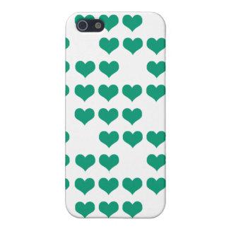Emerald Green Retro Hearts Pattern iPhone SE/5/5s Cover