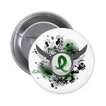 Emerald Green Ribbon And Wings Liver Cancer Pinback Buttons