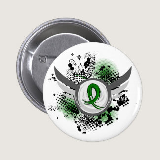 Emerald Green Ribbon And Wings Liver Cancer Pinback Button