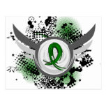 Emerald Green Ribbon And Wings Liver Cancer Postcard