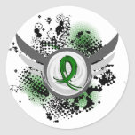 Emerald Green Ribbon And Wings Liver Cancer Classic Round Sticker