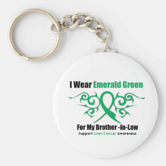 Emerald Green Ribbon Brother-in-Law - Liver Cancer Basic Round Button Keychain