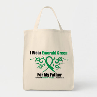 Emerald Green Ribbon (Father) - Liver Cancer Canvas Bags