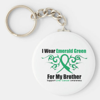 Emerald Green Ribbon For My Brother - Liver Cancer Basic Round Button Keychain