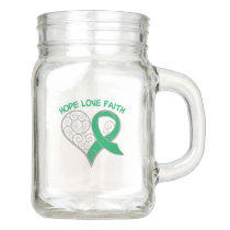 Emerald Green Ribbon Hope Love Faith Mason Jar