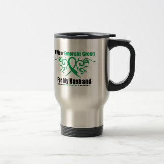 Emerald Green Ribbon (Husband) - Liver Cancer 15 Oz Stainless Steel Travel Mug