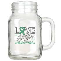 Emerald Green Ribbon Love Hope Awareness Mason Jar