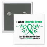 Emerald Green Ribbon (Mother-in-Law)  Liver Cancer Pinback Button