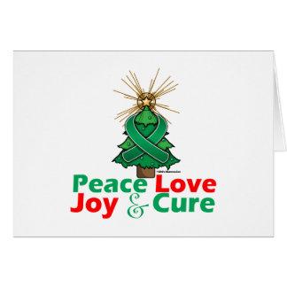 Emerald Green Ribbon Xmas Peace Love, Joy & Cure Greeting Card