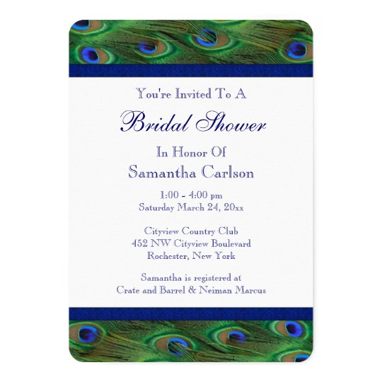 Emerald Green Royal Blue Peacock Bridal Shower Card