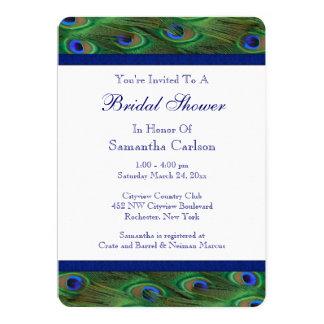 "Emerald Green Royal Blue Peacock Bridal Shower 5"" X 7"" Invitation Card"