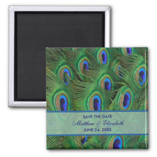 Emerald Green Royal Blue Peacock Feathers Wedding 2 Inch Square Magnet