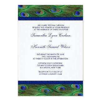 Emerald Green Royal Blue Peacock Feathers Wedding Card