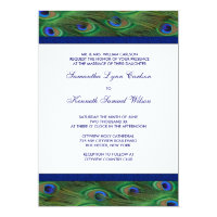 Emerald Green Royal Blue Peacock Feathers Wedding Invitation