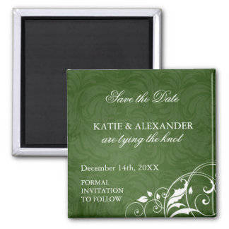 Emerald Green Save the Date Wedding Magnet