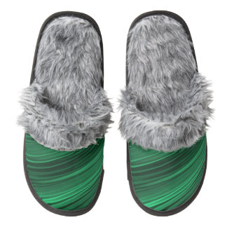 Emerald green shaded stripes pair of fuzzy slippers