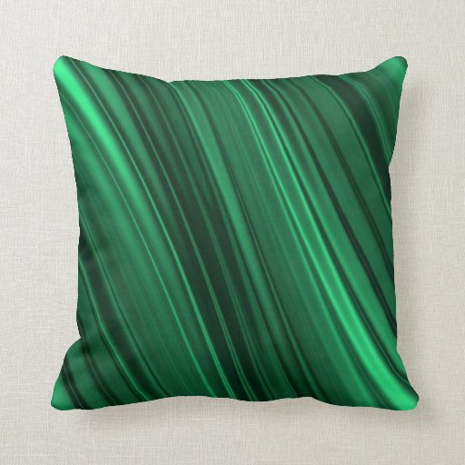 Emerald green shaded stripes pillow