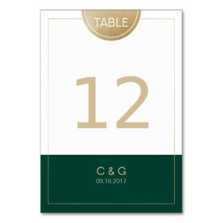 Emerald green simple modern wedding table number