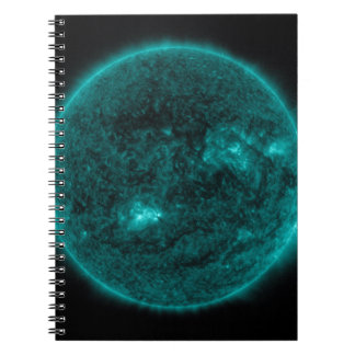EMERALD GREEN SOLAR FLARE SPACE PLANET BACKGROUNDS SPIRAL NOTEBOOK