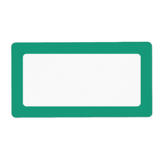 Emerald green solid color border blank label