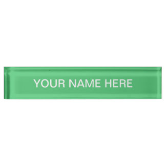 Emerald Green Solid Color Desk Name Plate